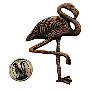 Flamingo Pin ~ Antiqued Copper ~ Lapel Pin ~ Sarah's Treats & Treasures