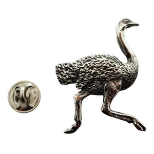 Ostrich Pin ~ Antiqued Pewter ~ Lapel Pin ~ Sarah's Treats & Treasures