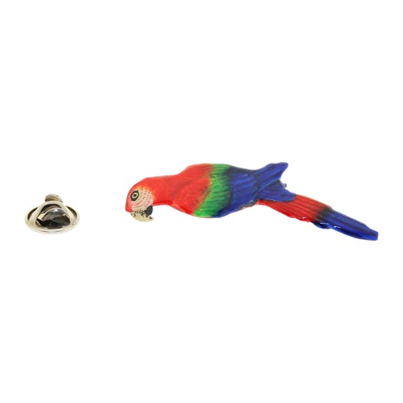 Parrot or Macaw Pin ~ Hand Painted ~ Lapel Pin ~ Sarah's Treats & Treasures