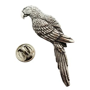 Parrot or Macaw Pin ~ Antiqued Pewter ~ Lapel Pin ~ Sarah's Treats & Treasures