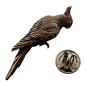 Cockatiel Pin ~ Antiqued Copper ~ Lapel Pin ~ Sarah's Treats & Treasures