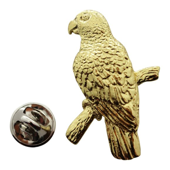 Amazon Parrot Pin ~ 24K Gold ~ Lapel Pin ~ 24K Gold Lapel Pin ~ Sarah's Treats & Treasures