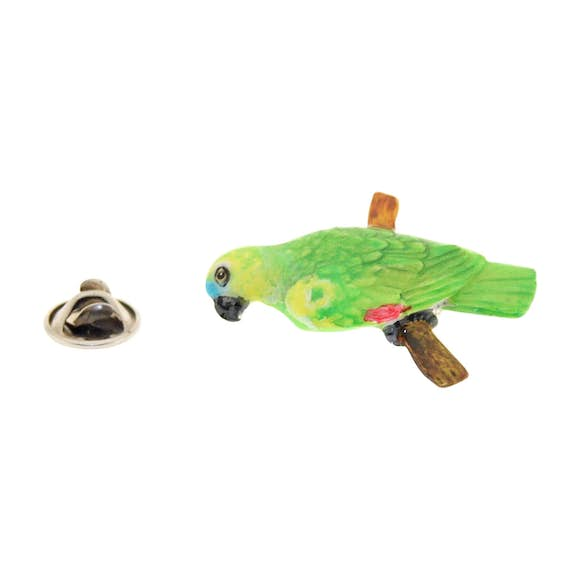 Amazon Green Parrot Pin ~ Hand Painted ~ Lapel Pin ~ Sarah's Treats & Treasures