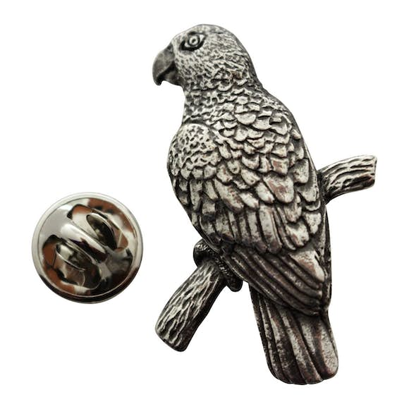 Parrot Pin ~ Antiqued Pewter ~ Lapel Pin ~ Sarah's Treats & Treasures