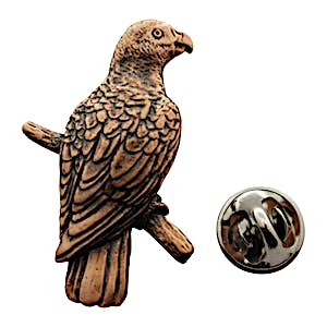 African Grey Parrot Pin ~ Antiqued Copper ~ Lapel Pin ~ Sarah's Treats & Treasures