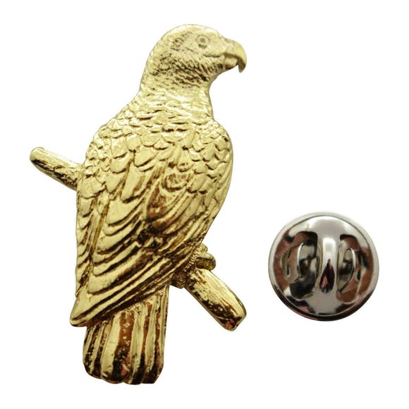African Grey Parrot Pin ~ 24K Gold ~ Lapel Pin ~ Sarah's Treats & Treasures