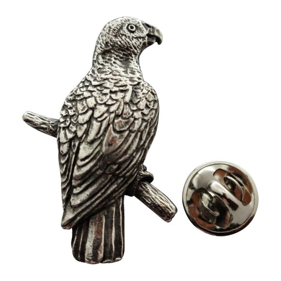 African Grey Parrot Pin ~ Antiqued Pewter ~ Lapel Pin ~ Sarah's Treats & Treasures