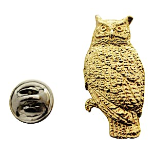 Great Horned Owl Pin ~ 24K Gold ~ Lapel Pin ~ 24K Gold Lapel Pin ~ Sarah's Treats & Treasures