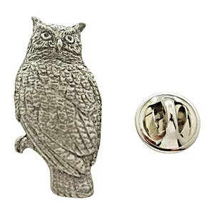 Great Horned Owl Pin ~ Antiqued Pewter ~ Lapel Pin ~ Sarah's Treats & Treasures