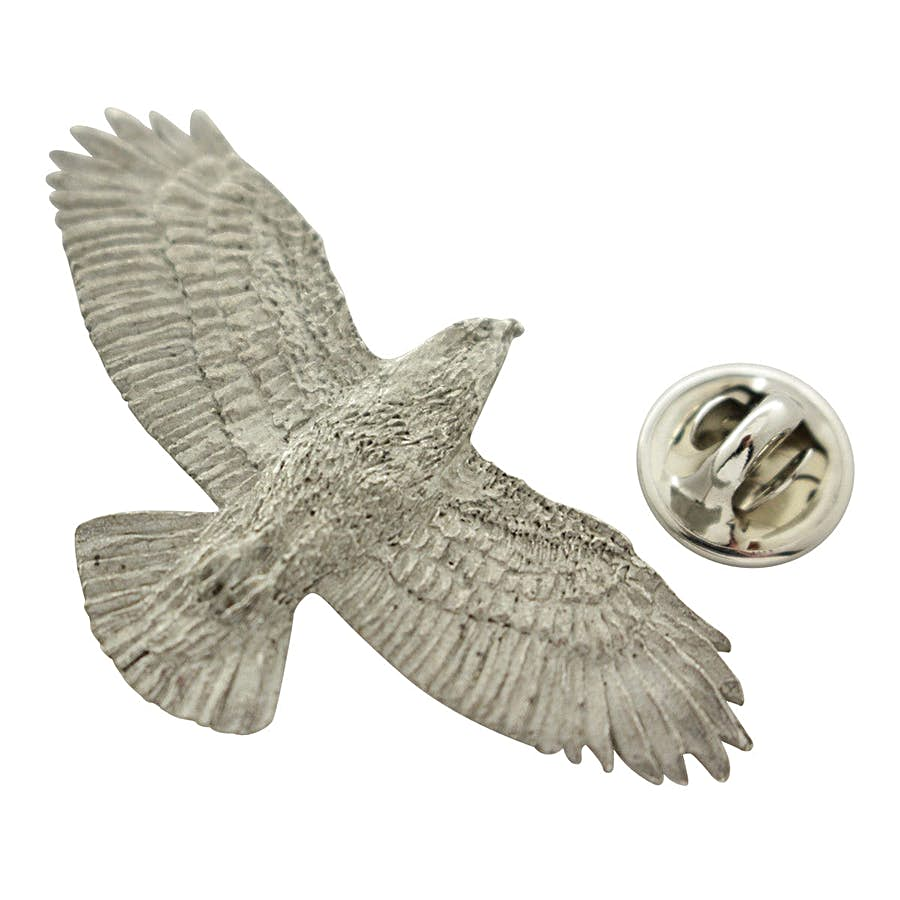 Hawk Flying Pin ~ Antiqued Pewter ~ Lapel Pin ~ Sarah's Treats & Treasures