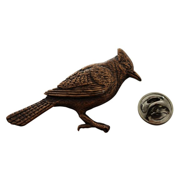Blue Jay Pin ~ Antiqued Copper ~ Lapel Pin ~ Sarah's Treats & Treasures