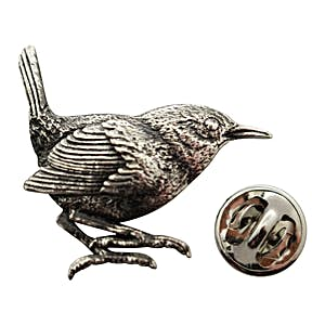 Wren Pin ~ Antiqued Pewter ~ Lapel Pin ~ Sarah's Treats & Treasures
