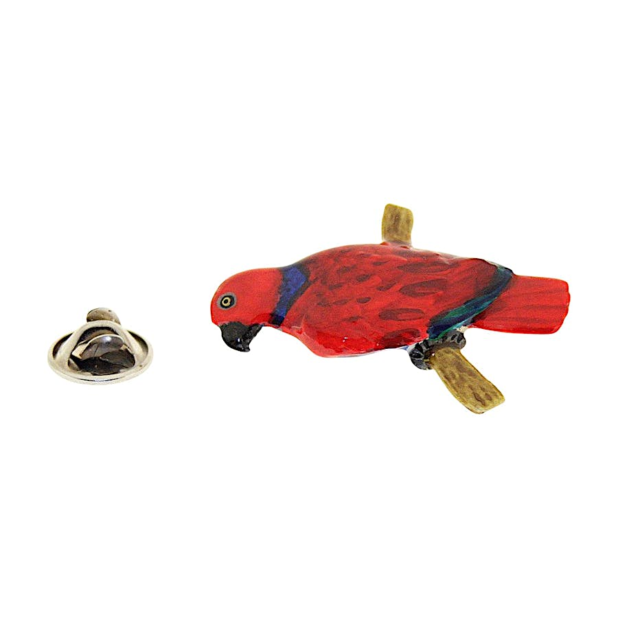 Amazon Red Parrot Pin ~ Hand Painted ~ Lapel Pin ~ Sarah's Treats & Treasures