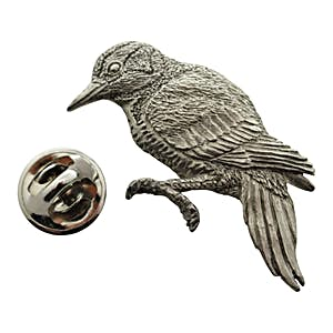 Woodpecker Pin ~ Antiqued Pewter ~ Lapel Pin ~ Sarah's Treats & Treasures