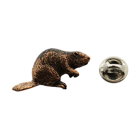 Beaver Pin ~ Antiqued Copper ~ Lapel Pin ~ Sarah's Treats & Treasures