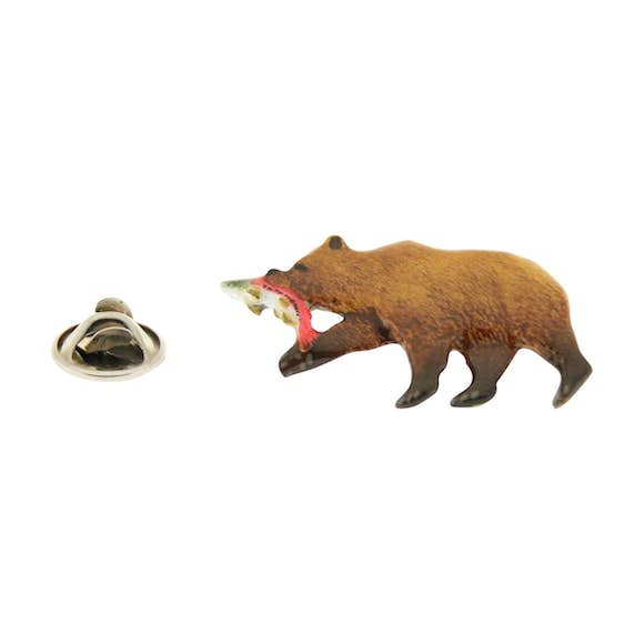 Brown Bear With Salmon Pin ~ Hand Painted ~ Lapel Pin ~ Sarah's Treats & Treasures