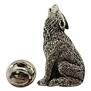 Howling Wolf Pin ~ Antiqued Pewter ~ Lapel Pin ~ Sarah's Treats & Treasures