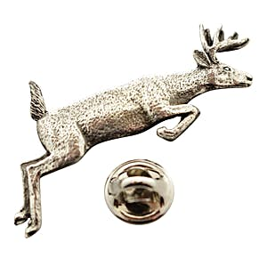 Jumping Whitetail Pin ~ Antiqued Pewter ~ Lapel Pin ~ Sarah's Treats & Treasures