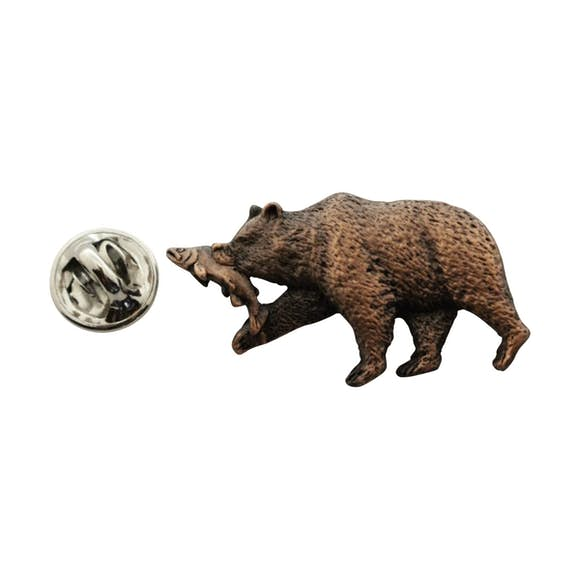 Brown Bear With Salmon Pin ~ Antiqued Copper ~ Lapel Pin ~ Sarah's Treats & Treasures