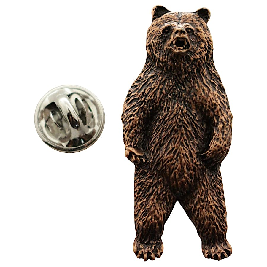 Grizzly Bear Standing Pin ~ Antiqued Copper ~ Lapel Pin ~ Sarah's Treats & Treasures