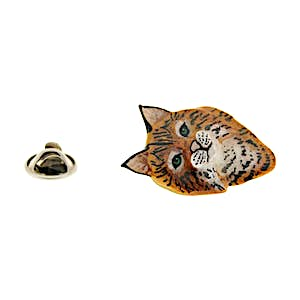 Bobcat Head Pin ~ Hand Painted ~ Lapel Pin ~ Sarah's Treats & Treasures