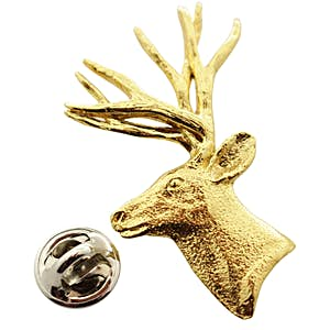 Mule Deer Head ~ 24K Gold ~ Lapel Pin ~ 24K Gold Lapel Pin ~ Sarah's Treats & Treasures