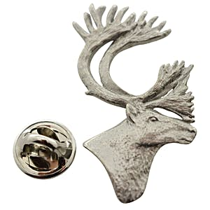 Caribou or Reindeer Head ~ Antiqued Pewter ~ Lapel Pin ~ Antiqued Pewter Lapel Pin ~ Sarah's Treats & Treasures