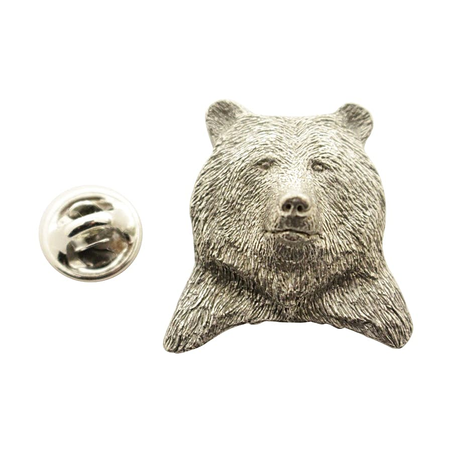 Grizzly Bear Head Pin ~ Antiqued Pewter ~ Lapel Pin ~ Sarah's Treats & Treasures