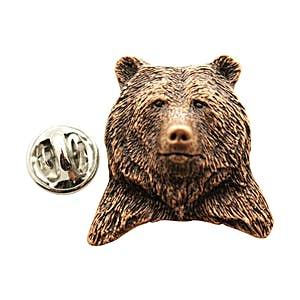 Grizzly Bear Head Pin ~ Antiqued Copper ~ Lapel Pin ~ Sarah's Treats & Treasures