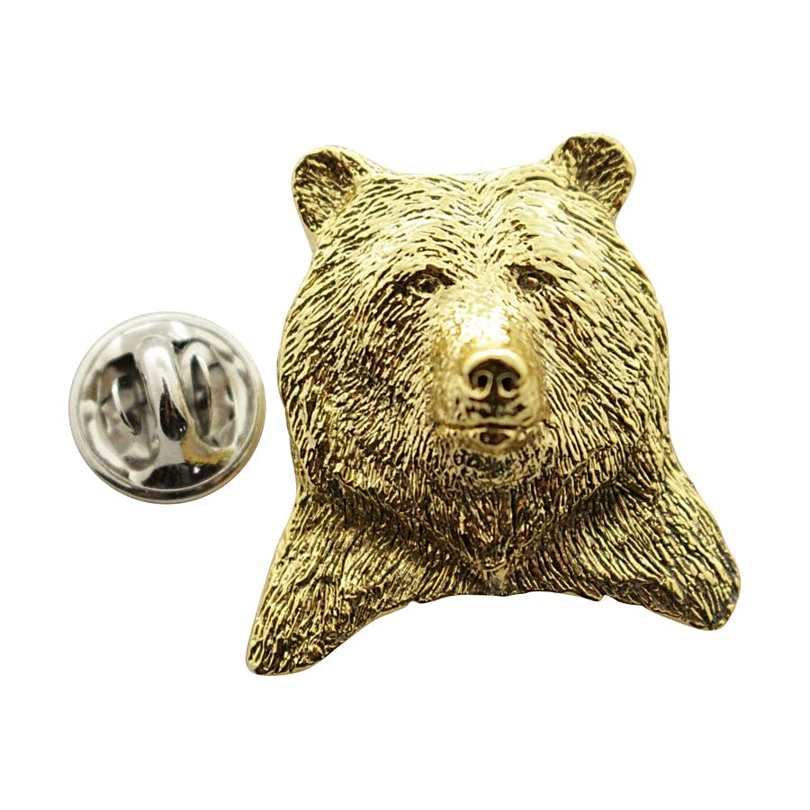 Grizzly Bear Head Pin ~ 24K Gold ~ Lapel Pin ~ Sarah's Treats & Treasures