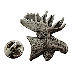 Moose Head Pin ~ Antiqued Pewter ~ Lapel Pin ~ Sarah's Treats & Treasures