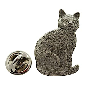 Sitting Cat Pin ~ Antiqued Pewter ~ Lapel Pin ~ Sarah's Treats & Treasures