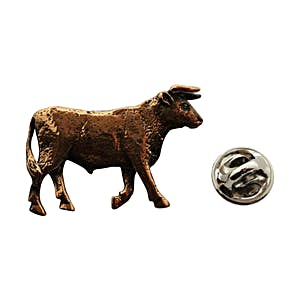 Bull Pin ~ Antiqued Copper ~ Lapel Pin ~ Sarah's Treats & Treasures
