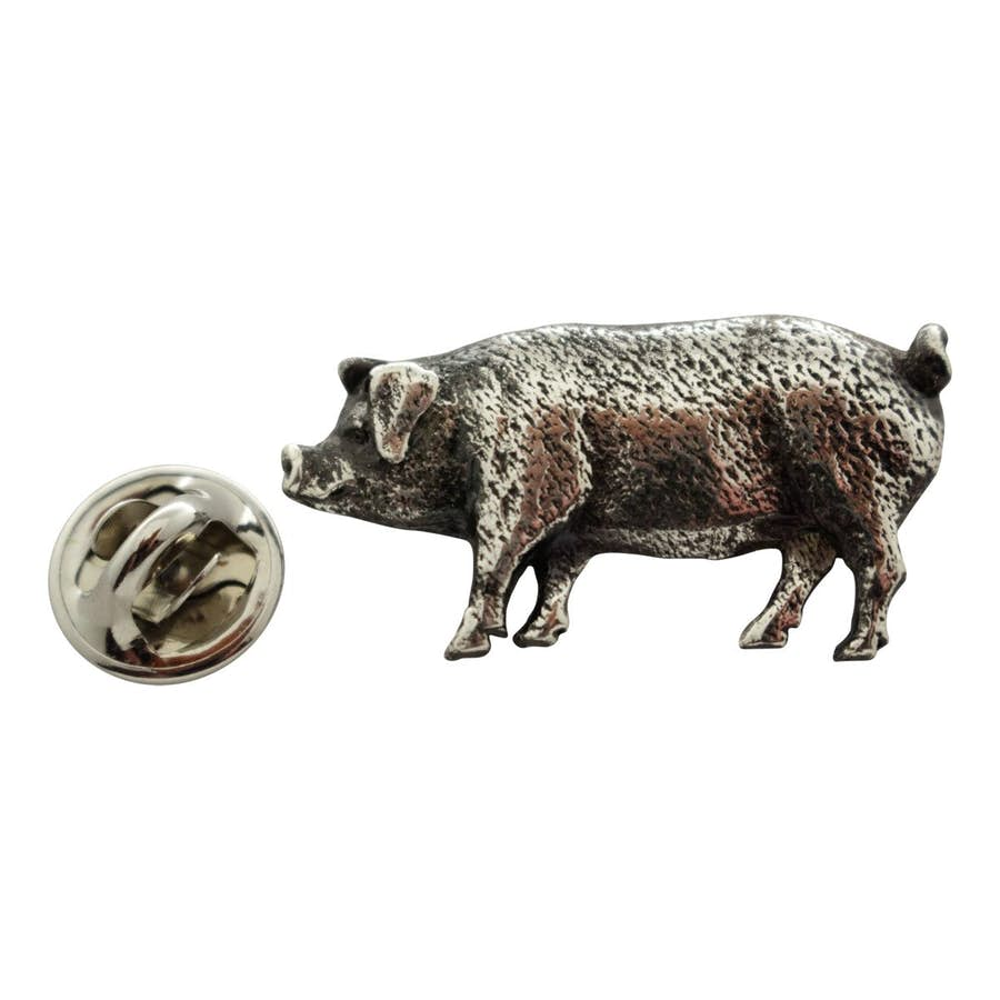 Pig Pin ~ Antiqued Pewter ~ Lapel Pin ~ Sarah's Treats & Treasures