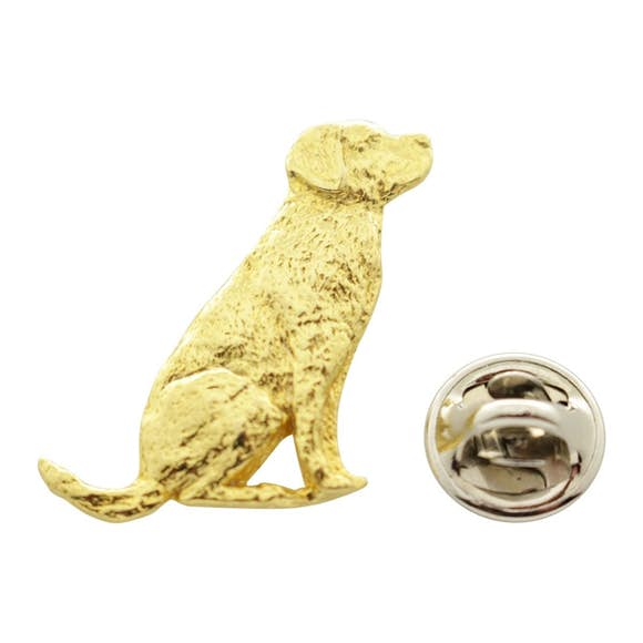 Lab or Labrador Sitting Pin ~ 24K Gold ~ Lapel Pin ~ 24K Gold Lapel Pin ~ Sarah's Treats & Treasures