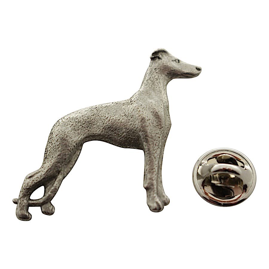 Whippet Pin ~ Antiqued Pewter ~ Lapel Pin ~ Sarah's Treats & Treasures
