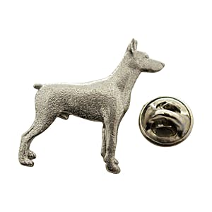 Doberman Pincer Pin ~ Antiqued Pewter ~ Lapel Pin ~ Sarah's Treats & Treasures