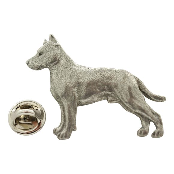 American Staffordshire Terrier Pin ~ Antiqued Pewter ~ Lapel Pin ~ Sarah's Treats & Treasures