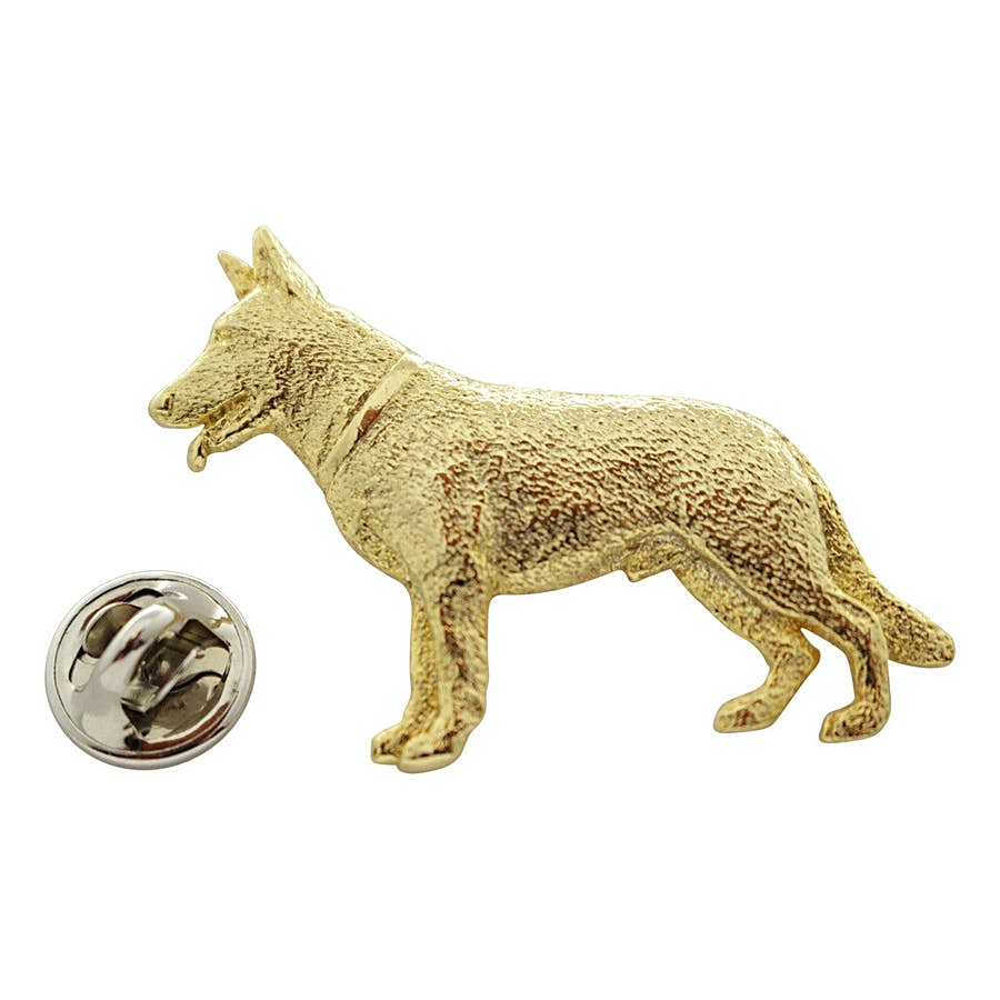 German Shepherd Pin ~ 24K Gold ~ Lapel Pin ~ 24K Gold Lapel Pin ~ Sarah's Treats & Treasures