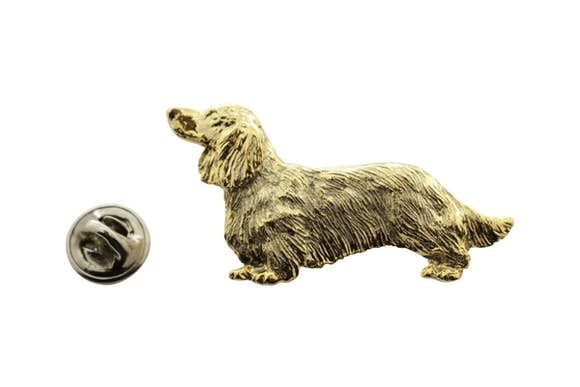 Long Haired Dachshund Pin ~ 24K Gold ~ Lapel Pin ~ 24K Gold Lapel Pin ~ Sarah's Treats & Treasures