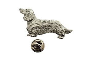 Long Haired Dachshund Pin ~ Antiqued Pewter ~ Lapel Pin ~ Sarah's Treats & Treasures