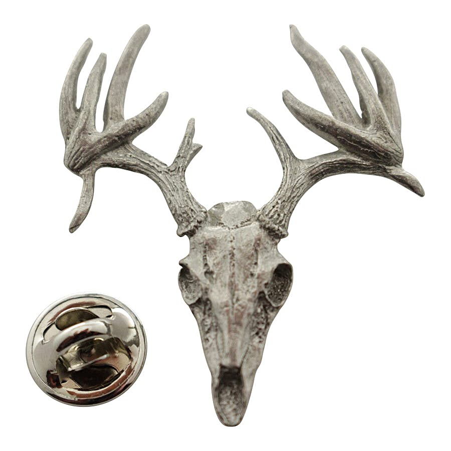 13 Point Drop Tine Skull Pin ~ Antiqued Pewter ~ Lapel Pin ~ Sarah's Treats & Treasures