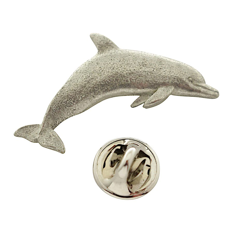 Dolphin Pin ~ Antiqued Pewter ~ Lapel Pin ~ Sarah's Treats & Treasures