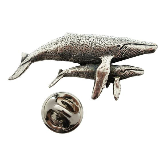 Humpback Whale with Baby Pin ~ Antiqued Pewter ~ Lapel Pin ~ Sarah's Treats & Treasures