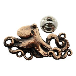 Octopus Pin ~ Antiqued Copper ~ Lapel Pin ~ Antiqued Copper Lapel Pin ~ Sarah's Treats & Treasures