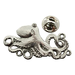 Octopus Pin ~ Antiqued Pewter ~ Lapel Pin ~ Sarah's Treats & Treasures