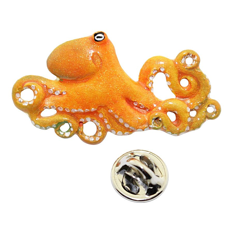 Octopus Pin ~ Hand Painted ~ Lapel Pin ~ Hand Painted Lapel Pin ~ Sarah's Treats & Treasures