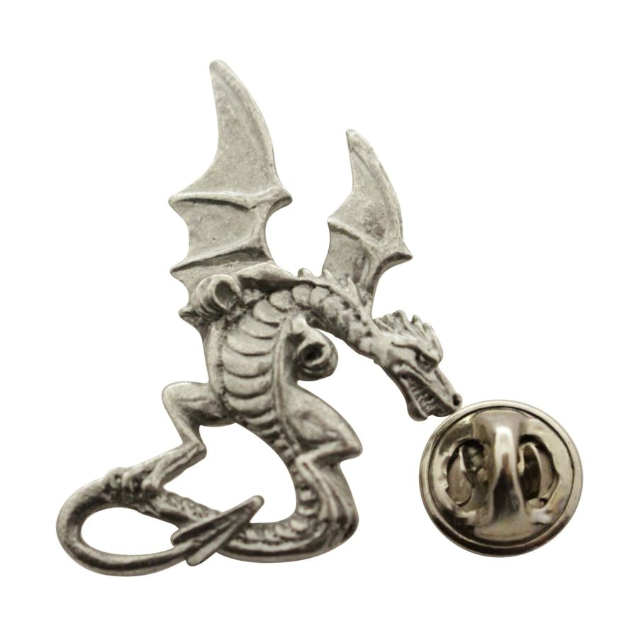 Medieval Dragon Pin ~ Antiqued Pewter ~ Lapel Pin