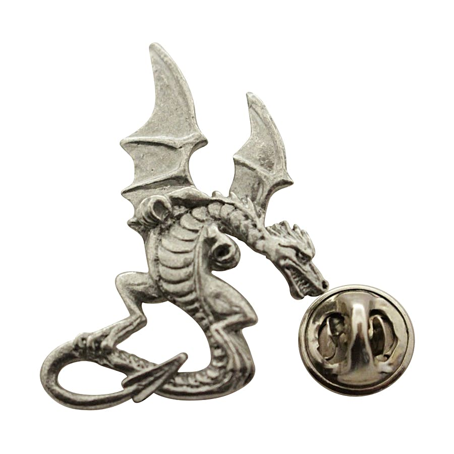 Medieval Dragon Pin ~ Antiqued Pewter ~ Lapel Pin ~ Sarah's Treats & Treasures