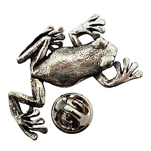 Climbing Tree Frog Pin ~ Antiqued Pewter ~ Lapel Pin ~ Antiqued Pewter Lapel Pin ~ Sarah's Treats & Treasures